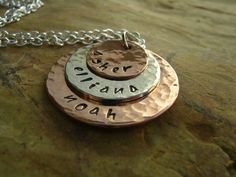 'Hand Stamped Trio Necklace - Mother Necklace ' is going up for auction at  6pm Sat, Mar 16 with a starting bid of $25. SAVE OVER $5.00 TODAY!