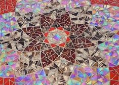 Red/Gold Mandala Glass Mosaic Tabletop  Sold: This item was a commission and is not available for purchase. It is listed as an example of the sort of mosaic tabletops which are available.  Commissioned 24 diameter glass tabletop with vitreous glass mosaic. Tiles are a variety of solid