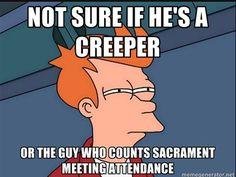 Mormon humor Ward Clerk counting attendance.