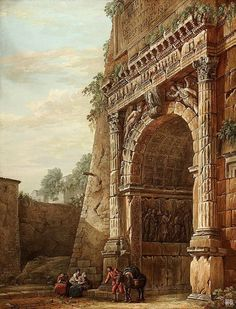 Triumphal Arch of Titus in Rome. 1781. Charles Louis Clerisseau. French. 1721-1820. gouache,pen and brown wash.