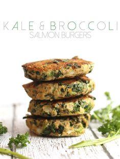 Kale and Broccoli Salmon Burgers #paleo #glutenfree   Hummusapien