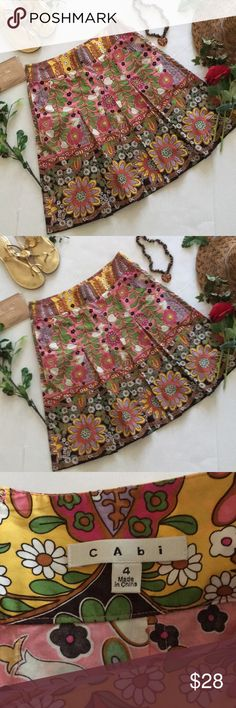 ❤CAbi Skirt❤ ❤In great used condition Colorful and floral Skirt by CAbi in size 4❤ CAbi Skirts