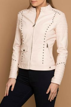 Women Beige Biker Padded Genuine Leather Silver Studded Handmade Slim Fit Jacket Size XS TO 100 % Genuine Cowhide Leather Fine premium stitching Inner Lining inside Pocket Classic Fashionable Studded Work Custom Color Changes option is. Studded Leather Jacket, Vegan Leather Jacket, Leather Jackets, Slim Fit Jackets, Trendy Fashion, Womens Fashion, Jacket Style, Cowhide Leather, Beige