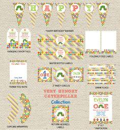 Very Hungry Caterpillar Birthday: Printable Set by GigglesandGraceDesign on Etsy, $30.00