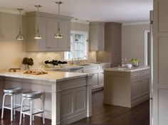 Good Taupe Kitchen Cabinets And Wall Color 24 On Decoration Ideas Design with Taupe Kitchen Cabinets And Wall Color Taupe Kitchen Cabinets, Outdoor Kitchen Countertops, Painting Kitchen Cabinets, Kitchen Redo, New Kitchen, Kitchen Remodel, Grey Cabinets, Kitchen Paint, Kitchen White