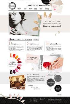 ネイルサロン・WEBサイト・ホームページ・デザイン・グレー・ホワイト・ブラウン・ネイルチップ・ネイルカフェショコラ Header Design, Web Design, Site Design, Layout Design, Leaflet Design, Website Layout, Salon Design, Interface Design, Editorial Design