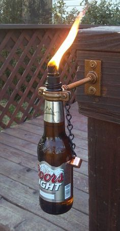 beer bottle lamp....love this idea but with wine bottles!