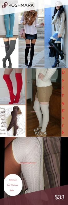 Cable Knit Over The Knee Sock Thigh High Cuff Boot Long soft cable knit over the knee socks. One pair new never worn, choose from ivory, black, hot pink, blue, brown, red or gray. Cute cozy boot socks, I'm sure you will love them. These are long enough to wear thigh high for most or over the knee with a nice cuff. Push them down below your knees and rock them as scrunchy knee high. Surely to keep your tootsies warm, normal too thick socks thickness, not like cheap thin so called over the…