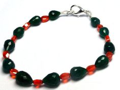 Attractive Green Onyx And Orange CZ Beads Woman Girl Lady Fashion Bracelet Gift