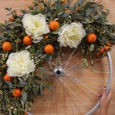 Not all wreaths are created equal. Take an old bike wheel and deck it out in boho-style for a wreath that wins all wreaths. Not all wreaths are created equal. Take an old bike wheel and deck it out in boho-style for a wreath that wins all wreaths. Wreath Crafts, Diy Wreath, Wreath Ideas, Diy Home Crafts, Diy Craft Projects, Christmas Diy, Christmas Decorations, Hanging Decorations, Navidad Diy