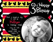 You Print Disney Mickey Mouse Birthday Party Invitation Design
