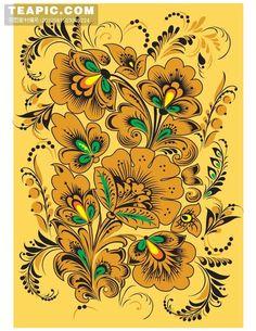 Коллекция картинок: Шаблоны для росписи в фолк стиле (хохлома, городец, жостово)