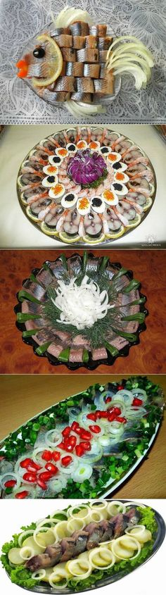 Interesting ideas for serving salted herring for filing . Fruit Decorations, Food Decoration, Meat Cheese Platters, Cute Food, Yummy Food, Plateau Charcuterie, Appetizer Buffet, Food Trays, Fruit Art