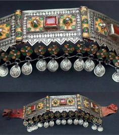 Morocco | Diadem, Ida ou Nadif | Silver with enamel and agate cabochon hinged plates, sewn onto leather and decorated with two rows of pendants. | Est. 1 700 - 2 200€ (Feb '14)