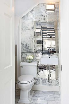 Wall Mounted Makeup Mirror Reference Idea Of Traditional Powder Room With Antique Tile Mirrored Accent Sconce