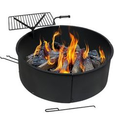 Sunnydaze Large Fire Pit Campfire Ring with BBQ Cooking Grate, Outdoor Camping Firepit Insert, Heavy Duty Thick Steel, 36 Inch Propane Fire Pit Kit, Fire Pit Grate, Wood Fire Pit, Gas Fire Pit Table, Steel Fire Pit, Wood Burning Fire Pit, Diy Fire Pit, Campfire Ring, Natural Gas Fire Pit