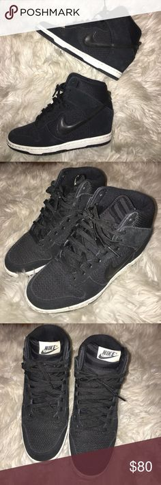 Black Nike Dunk Sky High Wedge Sneaker Heel Size  7. Gently worn! Extremely comfy. Extra height with a hidden wedge! Nike Shoes Wedges