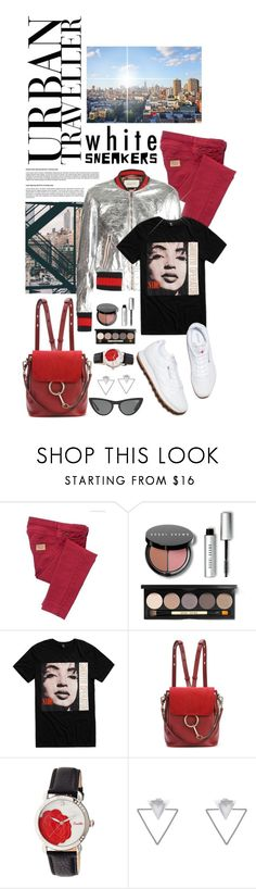 """""""So Fresh: White Sneakers"""" by shortyluv718 ❤ liked on Polyvore featuring See by Chloé, Gucci, Bobbi Brown Cosmetics, Chloé, Bertha, Eloquii, Eddie Borgo, Victoria, Victoria Beckham and whitesneakers"""