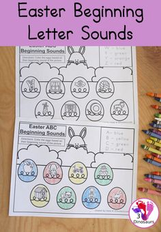 Free Easter Beginning Sound Coloring Printable - with four letter on each page work on coloring the beginning sound of each letter on the pages - Easy no-prep printable for learning in kindergarten and prek - 3Dinosaurs.com #3dinosaurs #kindergarten #prek #beginningsounds #lettersounds #abcs #freeprintable Printable Activities For Kids, Preschool Learning Activities, Writing Activities, Kids Learning, Early Learning, Free Printables, Abc Tracing, Beginning Sounds, Writing Art