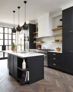 Dark, light, oak, maple, cherry cabinetry and modern multi wood kitchen cabinets. CHECK THE PIN for Many Wood Kitchen Cabinets. Dark Wood Kitchens, Black Kitchens, Rustic Kitchens, Interior Design Kitchen, Kitchen Decor, Kitchen Wood, Kitchen Ideas, Distressed Kitchen, Marble Interior