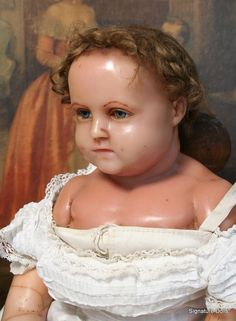 "LARGE 29"" English Poured Wax Child with Plump Modeling ~ ON HOLD FOR C."
