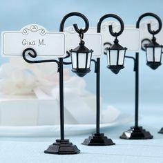 Vintage Street Lamp Place Card Holders with Place Cards by Beau-coup