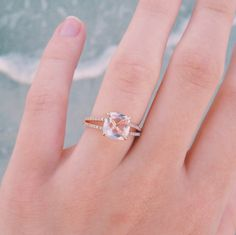Engaged to my best friend! Rose gold engagement ring, morganite, diamonds.
