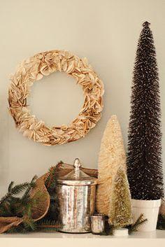 mercury glass, bookpage wreath, bottle brush trees