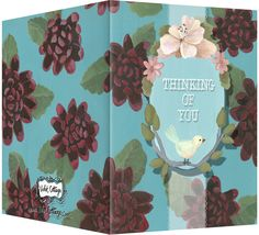 Thinking of you card with red mums on a turquoise background with a little pink and blue bird. Blank inside. Available wholesale or retail:  http://www.violetcottage.com/thinking-of-you/28-thinking-of-you-blank-inside-red-turquoise-flowers-bird.html