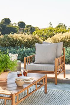 The Biya Lounge Chair, with its inviting foam seat sitting on a sleek acacia wood frame, is ready to host everything from your morning coffees to midnight margaritas—a versatile comfort.#OutdoorLoungeChair #PatioFurniture