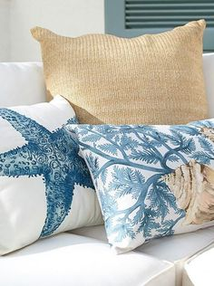Find throw and accent pillows from Pottery Barn to easily update your space. Shop our pillow collection to find decorative pillows in classic styles, prints and colors. Beach Cottage Style, Coastal Cottage, Beach House Decor, Coastal Style, Coastal Decor, Coastal Colors, Home Decor, Decor Pillows, Decorative Pillows