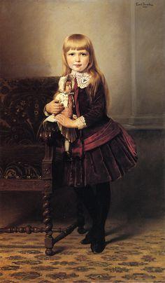 An 1887 Emil Brack portrait of a girl in a velvet dress.