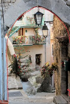 Winter decorations on the streets of Lucéram in southern France.