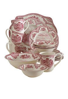 Johnson Brothers Old Britain Castles Pink Dinnerware Johnson Brothers China, Johnson Bros, Style Anglais, Casual Dinnerware, China Dinnerware, Pink Table, Vintage Dishes, Vintage China, Red Kitchen