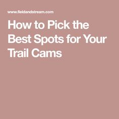 How to Pick the Best Spots for Your Trail Cams