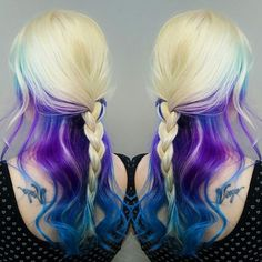 blonde purple and blue hair color