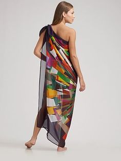 Goddess on the Beach: This knotted scarf cover-up is simple & elegant and the vibrant colors and modern graphic pattern add a youthful zest. This has a matching strapless bathing suit.