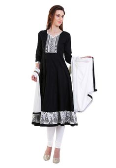 Buy Black Cotton Readymade Anarkali Kameez with Legging online, work: Plain, color: Black, usage: Festival, category: Salwar Kameez, fabric: Cotton, price: $101.74, item code: KSP685, gender: women, brand: Utsav