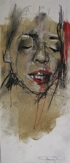 """""""celebritocracy (casting)"""" conte and pastel on paper 10 x 30 cm 27th February 2014"""