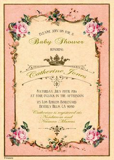 Printable baby shower invitation. Tea party invitation. Retro french tea label invite. Shabby chic victorian. Royal baby. Crown. on Etsy, $20.00