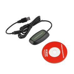 Black USB 2.0 PC Wireless Controller Gaming USB Receiver Adapter For Microsoft for XBOX 360 with a CD