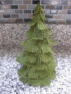 Rustic Burlap Tree in Green Burlap -shabby chic by DigitalCake on Etsy, $25.00