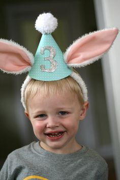 bunny birthday  use bunny ears for bday hats- add party hat with age