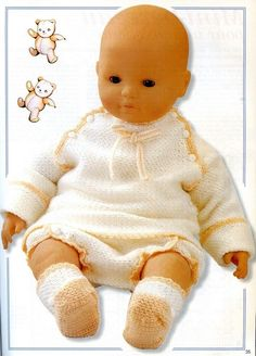 Beige Baby Top, Bloomers and Booties free crochet graph pattern Baby Doll Clothes, Crochet Baby Clothes, Doll Clothes Patterns, Doll Patterns, Baby Dolls, Knitting For Kids, Crochet For Kids, Crochet Ideas, Crochet Patterns