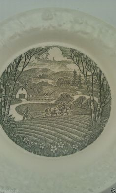 """VINTAGE PASTORAL TAYLOR SMITH & TAYLOR COLLECTOR PLATE 6 1/2"""" WHITE & GREEN"""