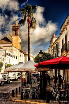 Street cafes in Medina Sidonia, Andalusia_ Spain