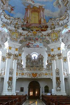 The Wies - Bavaria - Germany  #World heritage The Pilgrimage Church of Wies (German: Wieskirche) is an oval rococo church, designed in the late 1740s by Dominikus Zimmermann, who for the last eleven years of his life lived nearby. It is located in the foothills of the Alps, in the municipality of Steingaden in the Weilheim-Schongau district, Bavaria, Germany.