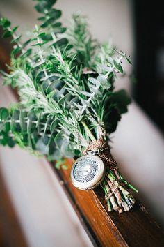 eucalyptus bouquet + vintage timepiece // photo by Bonnie Sen // http://ruffledblog.com/industrial-organic-wedding-inspiration