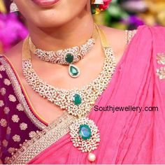 South Indian Bride in simple diamond choker and medium length diamond haram adorned with diamonds and emeralds. Diamond Necklace Simple, Diamond Choker Necklace, Bridal Necklace, Diamond Jewelry, Bridal Jewellery, Silver Jewellery, Jewelery, Indian Diamond Necklace, Dimond Necklace