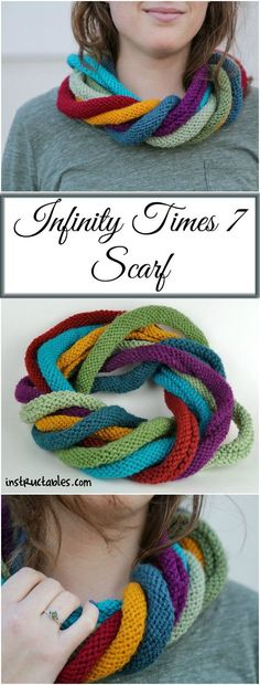 Infinity Times 7 Scarf - Knitting in a Round: I have been wanting to make an infinity scarf for a while now and just during the holidays, I got a circular needle set so I had to try it out. I am quite happy with the outcome. Knitting Needle Sets, Knitting Stitches, Knitting Needles, Knitting Patterns Free, Crochet Patterns, Knitting Ideas, Free Knitting, Free Pattern, Crochet Motifs